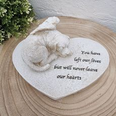 Memorial Dog on Heart Plaque