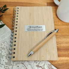 60th Birthday Bamboo Notepad and Pen