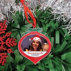 Memorial Photo Christmas Red Bauble Ornament