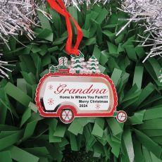 Personalised Christmas Caravan Ornament Grandma