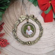 1st Christmas Photo Ornament Gold Wreath