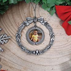 1st Christmas Photo Ornament Silver Wreath