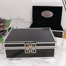 Naming Day Black Glass Jewel Box w/Silver Edge