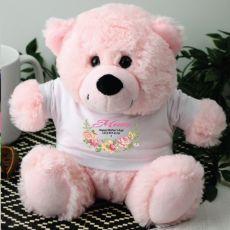 Mum Personalised Teddy Bear Light Pink Floral