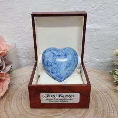 Baby Memorial keepsake Heart Urn For Ashes Blue