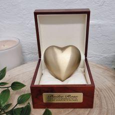 Baby Memorial keepsake Urn For Ashes Gold Brass Heart