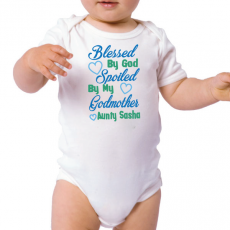 Personalised Godmother Baby Bodysuit - Blues