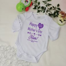 Personalised 1st Mothers Day  Bodysuit - Heart