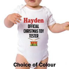 Personalised Christmas Baby Bodysuit - Toy Tester