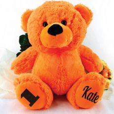 Personalised 1st Birthday Teddy Bear 40cm Plush  Orange