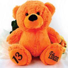 Personalised 13th Birthday Teddy Bear 40cm Plush  Orange