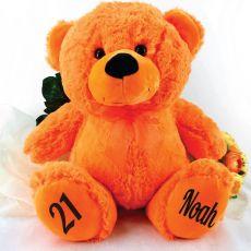 Personalised 21st Birthday Teddy Bear 40cm Plush Orange