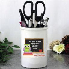 Personalised Teacher Pen Holder -Owl