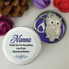 Personalised Nana Diamante Owl Keyring Gift