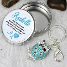 Personalised Aunty Keyring Gift - Owl