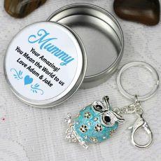 Personalised Mum Keyring Gift - Owl