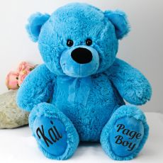 Page Boy Personalised Teddy Bear 40cm Plush Bright Blue