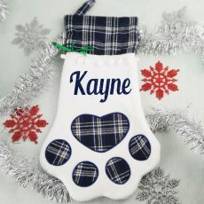 Personalised Pet Christmas Stocking- Blue Plaid