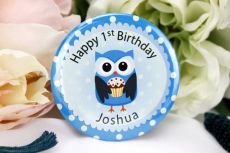 Personalised 1st Birthday Badge - Blue Owl