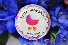Personalised Baby Shower Party Badge Pink