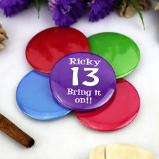 Personalised 13th Birthday Party Badge