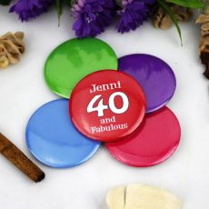 Personalised 40th Birthday Party Badge