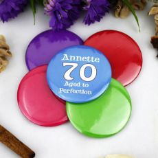 Personalised 70th Birthday Party Badge