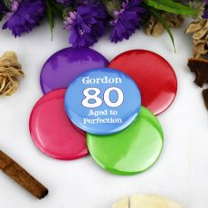 Personalised 80th Birthday Party Badge