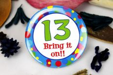 13th Birthday Party Badge - Blue Spots