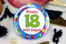 18th Birthday Party Badge - Blue Spots