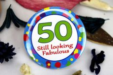 50th Birthday Party Badge - Blue Spots
