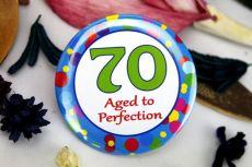 70th Birthday Party Badge - Blue Spots
