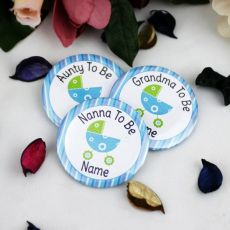 Personalised Baby Shower Badge Blue Pram