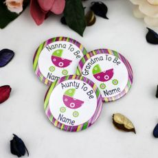 Personalised Baby Shower Badge Pink Pram