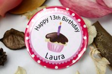 Personalised 13th Birthday Cupcake Badge