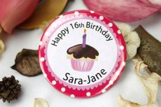 Personalised 16th Birthday Cupcake Badge