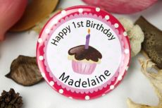 Personalised 1st Birthday Cupcake Badge