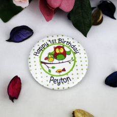 Personalised Birthday Badge - Spotty Owl