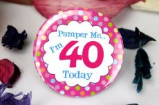40th Birthday Party Badge - Pink Spots