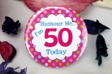 50th Birthday Party Badge - Pink Spots