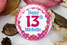 Personalised 13th Birthday Party Badge - Pink Spots