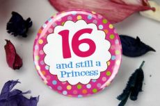 16th Birthday Princess Party Badge