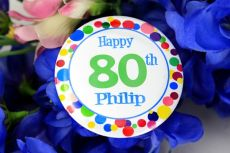Personalised 80th Party Badge