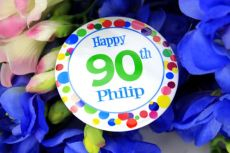 Personalised 90th Birthday Party Badge