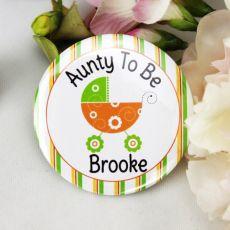 Personalised Baby Shower Badge Green Pram
