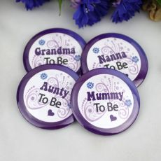To Be....Baby Shower Badge Purple