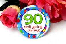 90th Birthday Party Badge - Blue Spots