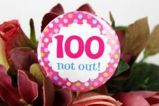 100th Birthday Party Badge - Pink Spots