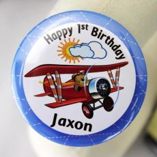 1st Birthday Personalised Plane Badge