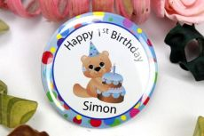 Personalised 1st Birthday Badge -Pink/ Blue